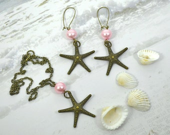 OCEAN STAR - Couture Nautical Bronze Starfish and Pink Pearl Necklace and Earrings set