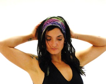 Headband, Dreads wrap, FLUORITE purple and green Hippie Headband, Gypsy Clothes, Dreadband, Hair Wrap, Headdress, Dreadlock wrap