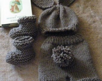 Chocolate Bunny Set/Easter Outfit/Photo Prop/Knitted/Hat/Pants w/RemovableTail/Booties/0-3 Months/Ready to Ship