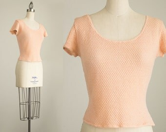 60s Vintage Peach Fitted Knit Sweater Top / Size Small