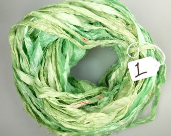 Silk Sari Ribbon, Sari silk ribbon, recycled ribbon, Mint green sari ribbon, knitting supply, weaving supply, crochet supply, jewelry supply