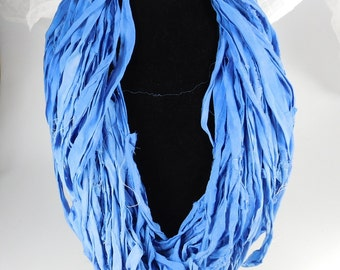 Sari silk ribbon, Silk CHIFFON sari ribbon, Silk Sari Ribbon, Royal Blue sari ribbon, Weaving supply, knitting supply, tassel supply