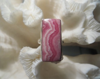 Beautiful Pink Rhodochrosite Ring Size 7.75