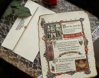 Qty 50 Medieval Renaissance Royal Aged Scroll Wedding Invitations king queen Castle rustic times cards gold red blue sweet 15 16 fairy tale