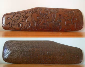 Vintage Native Maori Hand Carved Paddle, New Zealand Whakairo Tropical Birds Abstract Art