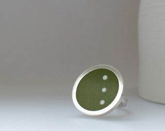 Polka Dot Statement Ring - DotDotDot Ring - Round Green Ring - Spots - Dots - Modernist Jewellery - Pop
