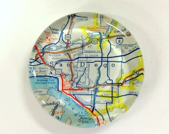 Vintage Map Paperweight -San Diego CA - Ready to ship