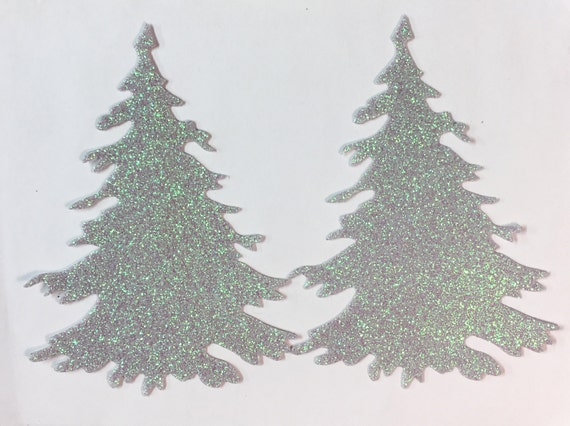 "Winter Christmas Tree Glitter STICKERS - 4"" Size - Glistening Snow Embellishment - Holiday Greeting Card Scrapbook Art Craft Collage"
