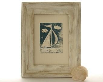 Sailboat Art, Nautical Print, Gift for Sailors, Blue Sailboat Picture, Nursery Art, New Baby Gift, Original Linocut, 1st Anniversary Gift