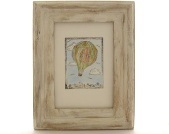 Hot Air Balloon Art, Nursery Decor, Vintage Inspired Travel Art, Pastel Hot Air Balloon, Aviation Art, Hot Air Balloon Picture, Nursery Art