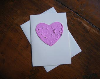 Mothers' Day card - Plantable paper heart - Pink heart embedded with wildflower seeds on a blank greeting card - Wedding, Birthday, Sympathy
