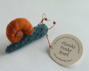 Needle felted snail, needle felt snail, snail ornament, felted snail, little snail, felt snail, Gretel Parker