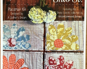 Sew Into It! Quilted Placemats Kit - Thistlewood Farms- Laser Cut/Pre-Flused Fabrics -Beginners Kit- Cotton