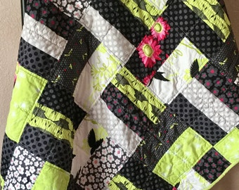 Patchwork Quilt, Handmade Lap Quilt, Cotton Lap Quilt,  Quilted Bedding, Throw Quilt, Bedroom Decor, Sofa Throw, Mother's Day Gift