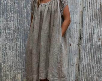 Natural Linen Peasant Dress