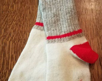 Vintage Pair of Red Heel Wool Sock Monkey Socks