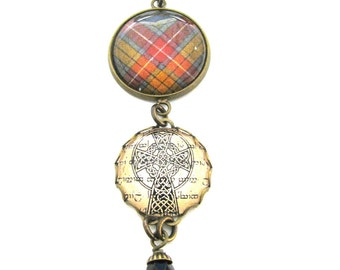 Scottish Tartan Jewelry - Ancient Romance Series - Buchanan Old Sett Buchanan Weathered Tartan Sweet Bow Brooch w/Celtic Cross Charm