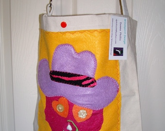 Pink, Purple and Gold Skull with Hat Tote Bag with 1 pockets on the inside. Go to the Beach Mall Flea Market Spa!    13X12X4 MADE IN AMERICA