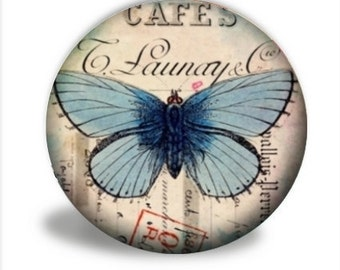 Butterfly Pocket Mirror, Blue Butterfly Pocket Mirror - PM045