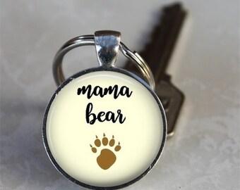 Mama Bear - Glass Dome Keychain