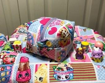 Shopkins Zipper Box Pouch Cosmetic Bag cube