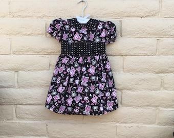 Toddler Girls Skelanimals Black Pink Goth Puppy Cat Skeleton Dress Sz 3