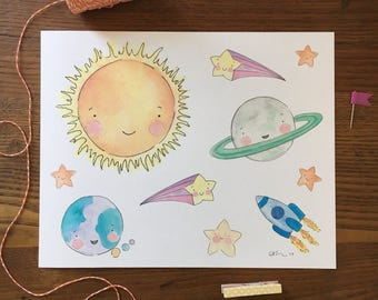 Space Nursery Art. Solar System Art Print. Watercolor Art. 8x10 Art Print. Nursery Decor. New Baby Gift. Space Themed. Planets Illustration