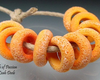 Handmade Glass Bead Rings Lampwork - 10 Bright Apricot Spring Sliders - Xtra Sm