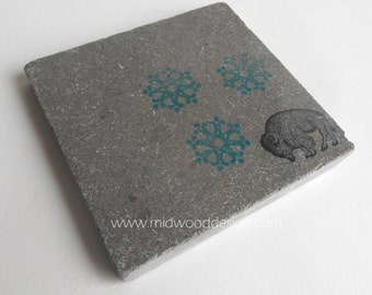Buffalo blizzard stone tile coasters set of 4