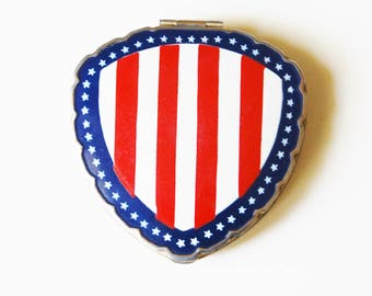 Vintage 1940s WWII Enamel Compact Red White and Blue Motif Stars and Stripes Shield Shape