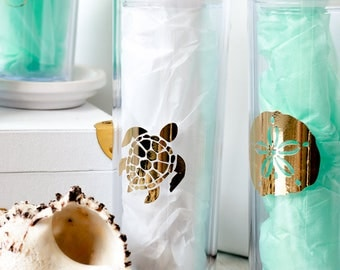 Beach Theme Skinny Tumbler Travel Cup Gold Foil Starfish Sand Dollar Sea Turtle Mermaid or Flip Flops 16 oz Cup Top Straw Shiny Gold Coastal