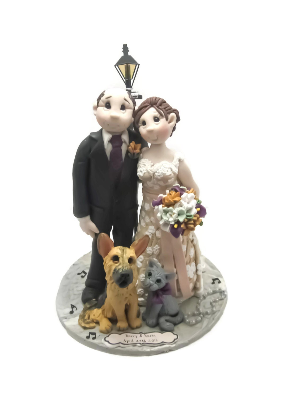 Custom cake topper Dog Lovers wedding cake topper Bride and