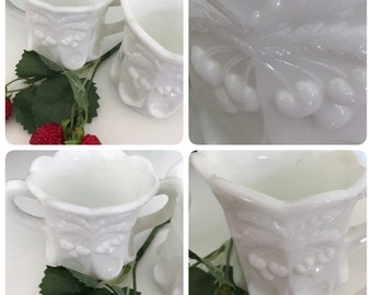 Embossed Sweet CHERRY MOTIF - Heavy Vintage Milk Glass Sugar and Creamer