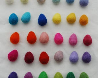 100% Wool Felt Raindrops / Teardrops - 30 Count - Assorted Light & Bright Colours - approx 2.5cm x 3cm