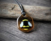 Bumblebee fused glass pendant