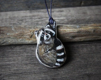 Amazing Cute raccoon necklace -Unique fused glass pendant,