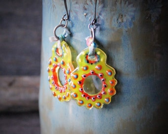 Gypsy girl - beautiful unique light weight  fused glass earrings