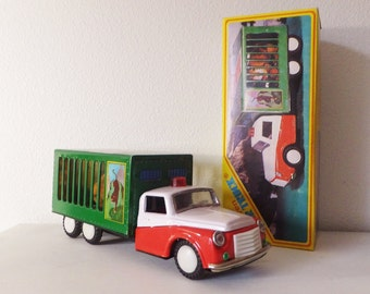Vintage Toy Truck Circus Truck with Tiger Tin Toy Vehicle Toy Car Collectible Toy Truck Very Good Condition with Original Box
