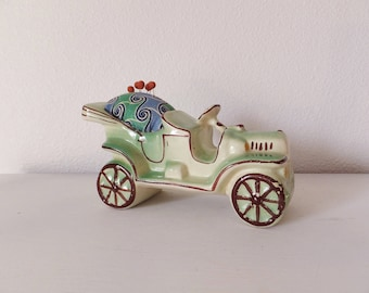 Whimsical Pincushion Vintage Car Planter Pincushion Novelty Sewing Supplies Gift Pincushion Gift for Quilter Cottage Chic Sewing Green Decor