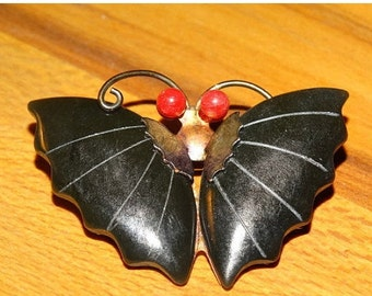 On Sale Jade Dynasty Collection Gold Tone Jade and Coral Butterfly Pin or Pendant in Original Red Silk Pouch