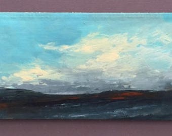 MINI 1725, 0riginal oil painting, landscape, miniature art, 100% charity donation, oil painting on cardboard