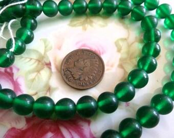 12 Vintage Transparent 7.5mm Emerald Smooth Round Glass Japan Beads C45
