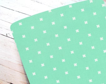 XOXO in Mint- Fitted Crib Sheet-STANDARD 100% Cotton ONLY