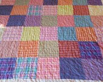 Plaid pastel  queen size quilt