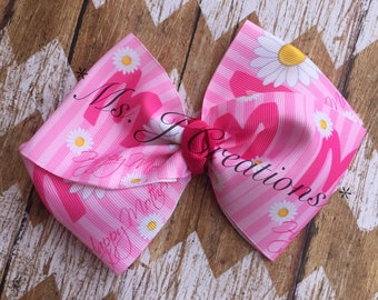 Mothers Day Hairbow - Pink Daisy Girls Photo Prop Cute - READY TO SHIP