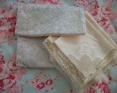 wedding, bridal, trousseau, 8 old lacy handkerchiefs, soft aged white, imported linen & cotton lace, with french blue lace hankie keeper