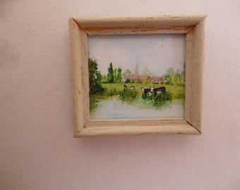 One 48th Scale prints (They are Tiny Wee!!) A landscape in Kent, England . The River Medway at Barming with cows !!
