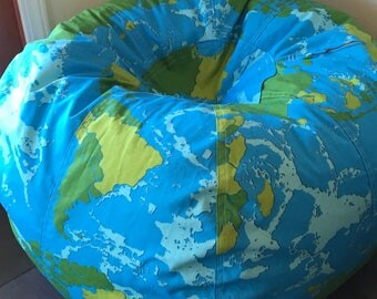 Modern Bright Style Earth Globe and World Map Bean Bag chair ocean blue and green made to order cover and liner WITHOUT FILL