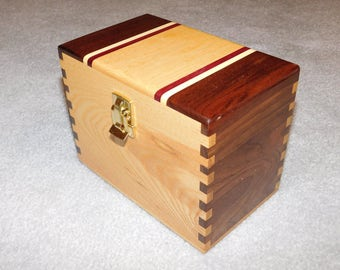 "Wood Recipe Box for 4"" x 6"" Index Cards - Walnut and Ash"