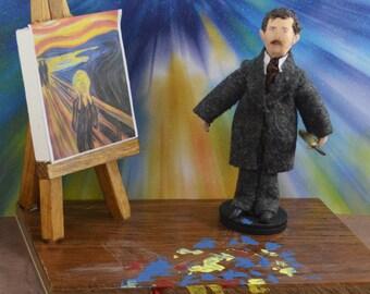 The Scream Edvard Munch Artist Doll In Miniature Diorama Art Scene